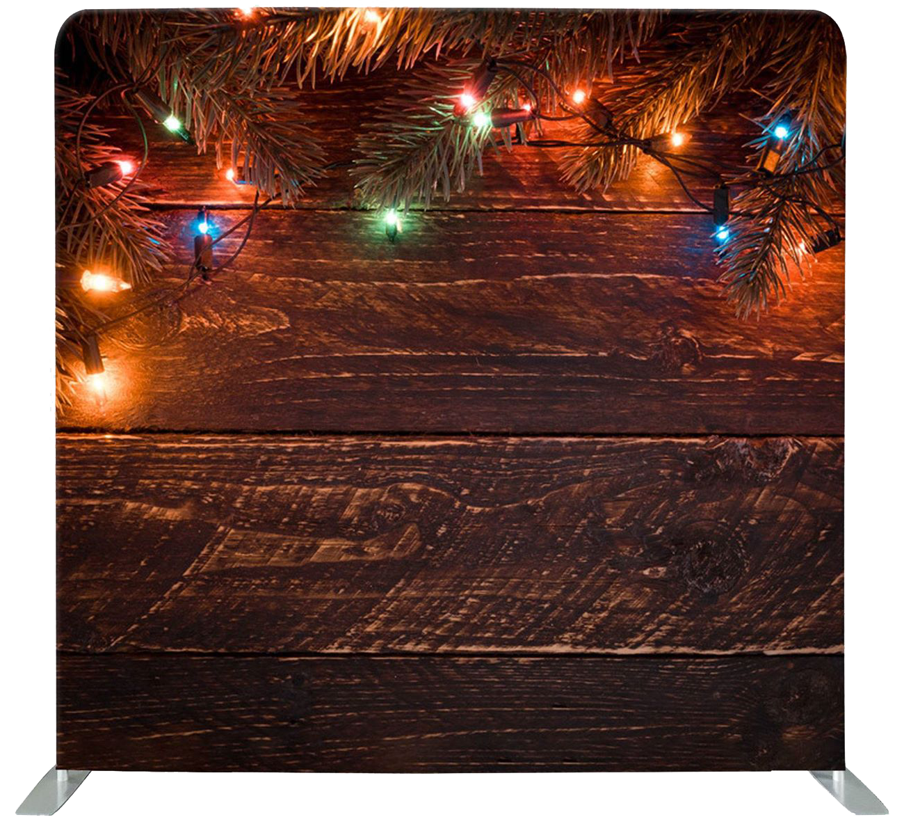 photo booth backdrop dark wood with pine needles and mini Christmas lights
